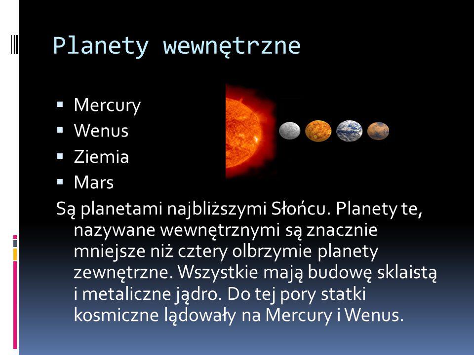 Planety wewnętrzne  Mercury  Wenus  Ziemia  Mars Są planetami najbliższymi Słońcu. Planety te, nazywane wewnętrznymi są znacznie mniejsze niż czte