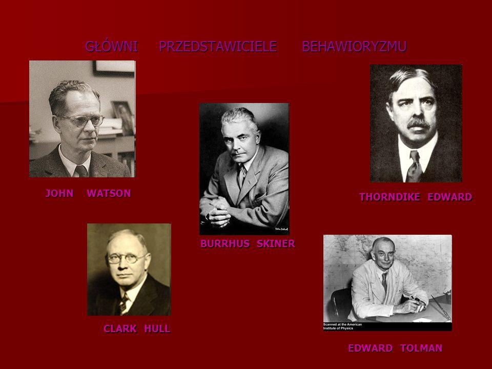 GŁÓWNI PRZEDSTAWICIELE BEHAWIORYZMU BURRHUS SKINER JOHN WATSON THORNDIKE EDWARD CLARK HULL EDWARD TOLMAN