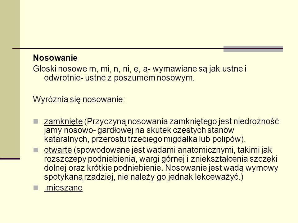 Nosowanie Głoski nosowe m, mi, n, ni, ę, ą- wymawiane są jak ustne i odwrotnie- ustne z poszumem nosowym. Wyróżnia się nosowanie: zamknięte (Przyczyną