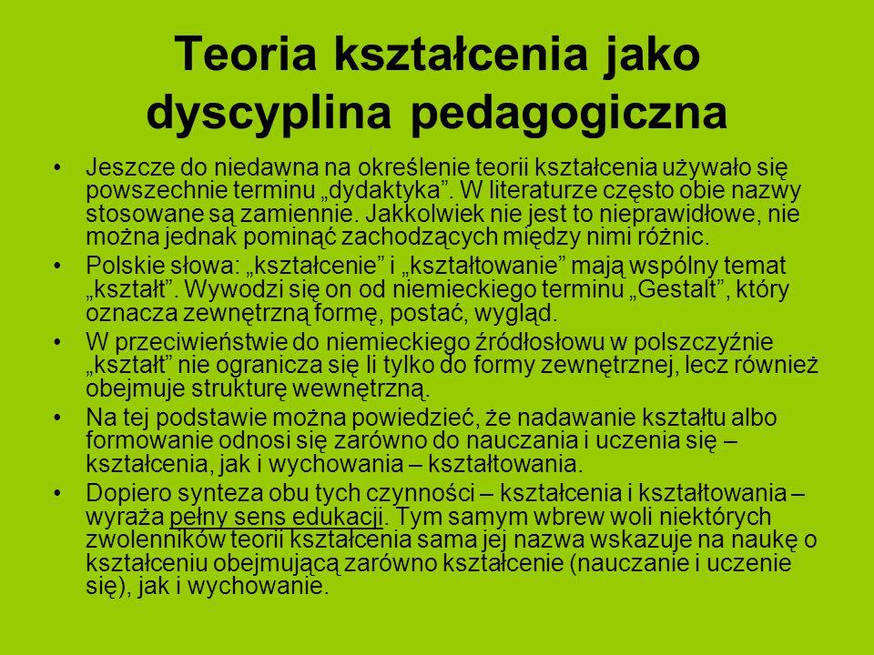 """Teoria kształcenia jako dyscyplina pedagogiczna Jeszcze do niedawna na określenie teorii kształcenia używało się powszechnie terminu """"dydaktyka"""". W li"""