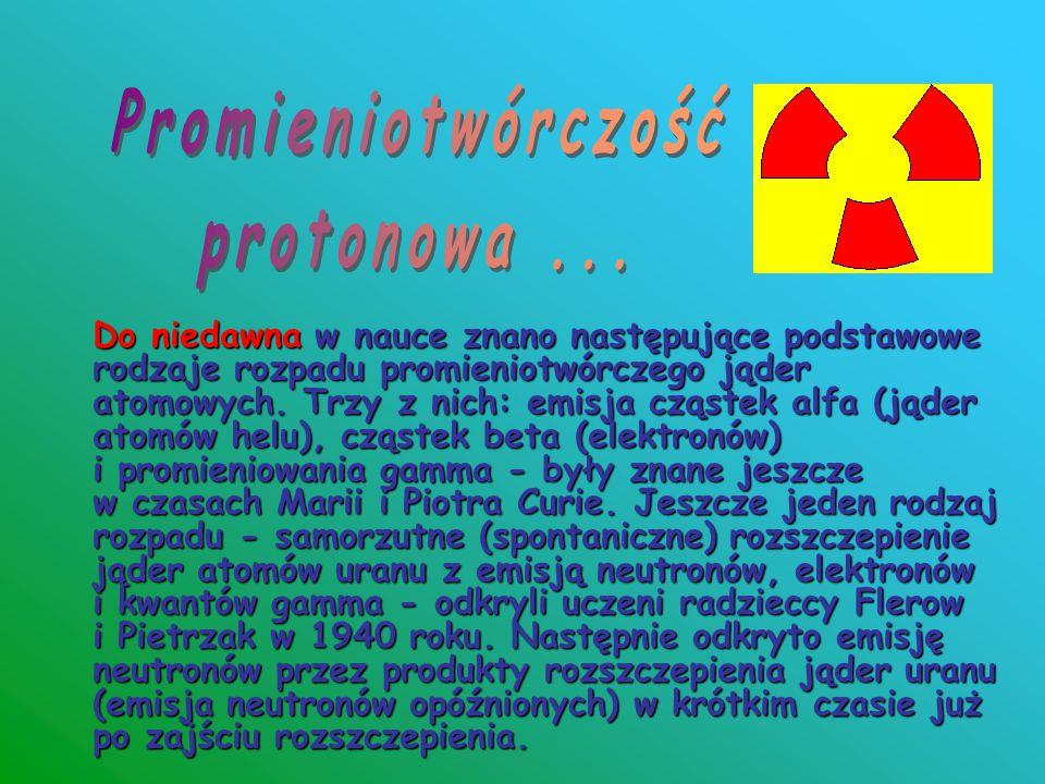 Do niedawna w nauce znano następujące podstawowe rodzaje rozpadu promieniotwórczego jąder atomowych. Trzy z nich: emisja cząstek alfa (jąder atomów he