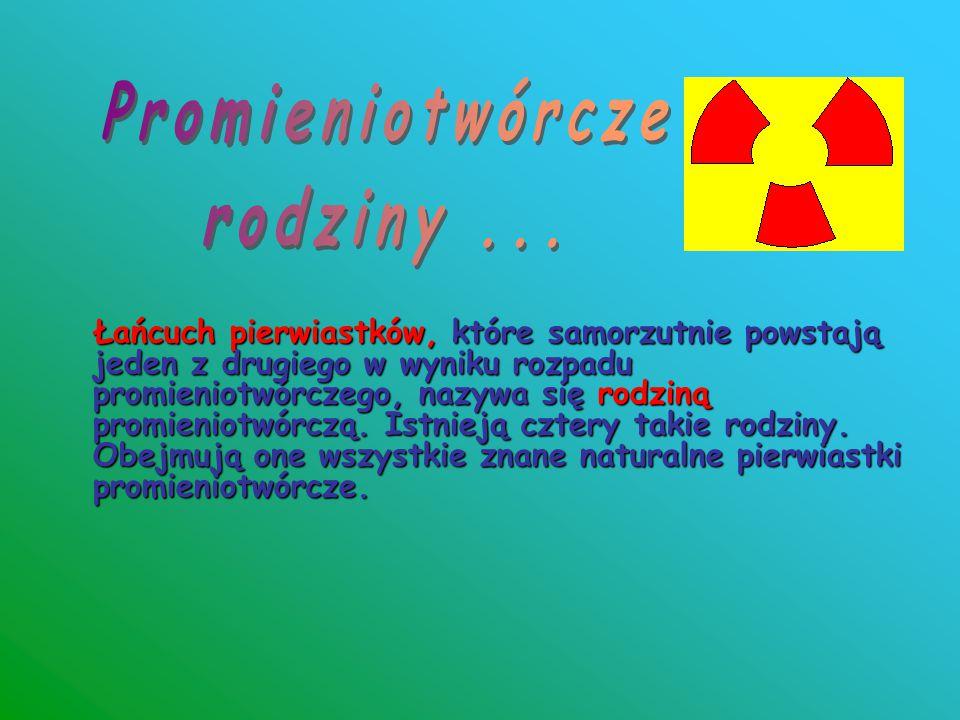 Łańcuch pierwiastków, które samorzutnie powstają jeden z drugiego w wyniku rozpadu promieniotwórczego, nazywa się rodziną promieniotwórczą. Istnieją c