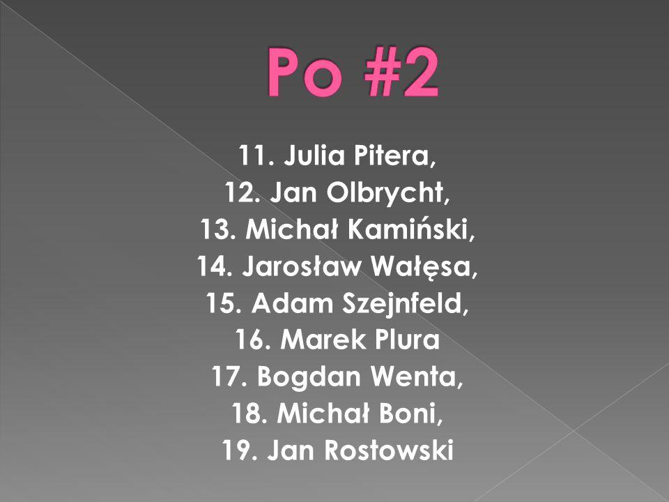Europosłowie z PO to : 1. Jerzy Buzek, 2. Danuta Huebner, 3. Bogdan Zdrojewski, 4. Róża Thun, 5. Janusz Lewandowski, 6. Jacek Saryusz-Wolski, 7. Dariu