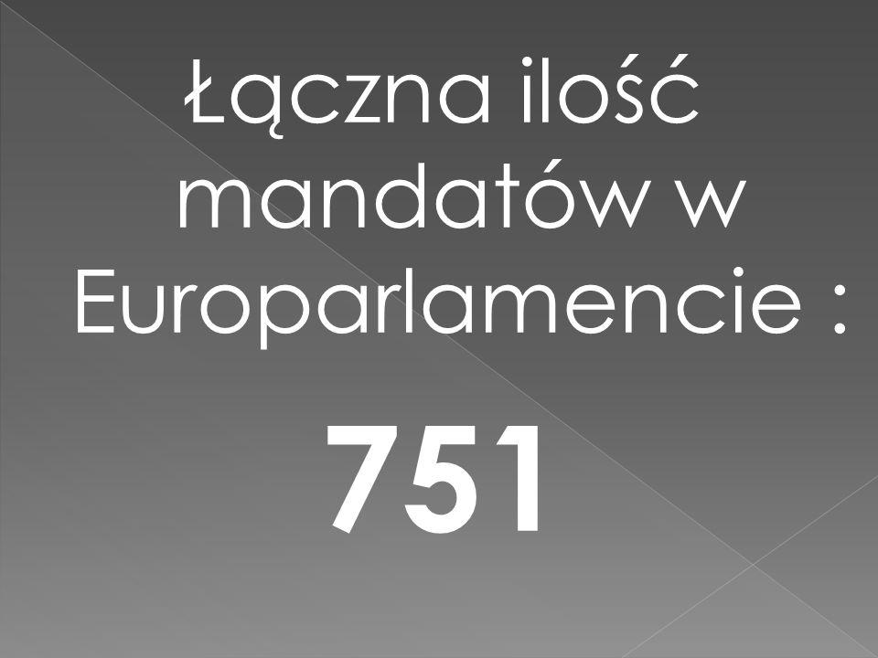 Łączna ilość mandatów w Europarlamencie : 751