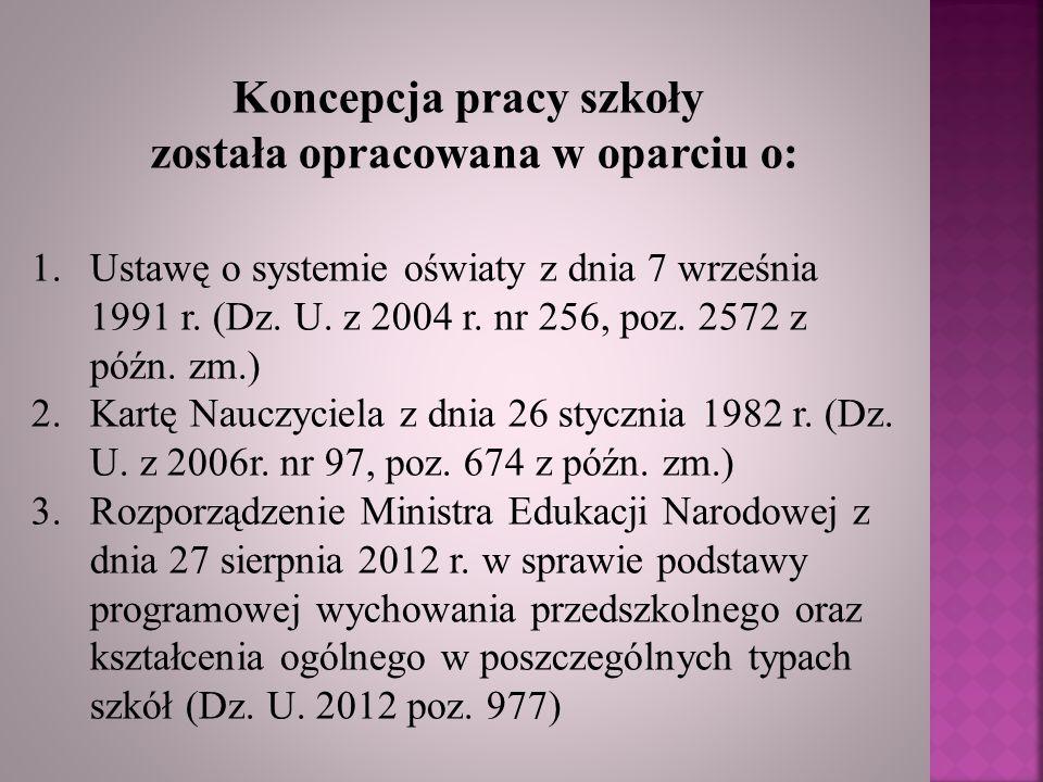 Koncepcja pracy szkoły została opracowana w oparciu o: 1.Ustawę o systemie oświaty z dnia 7 września 1991 r. (Dz. U. z 2004 r. nr 256, poz. 2572 z póź