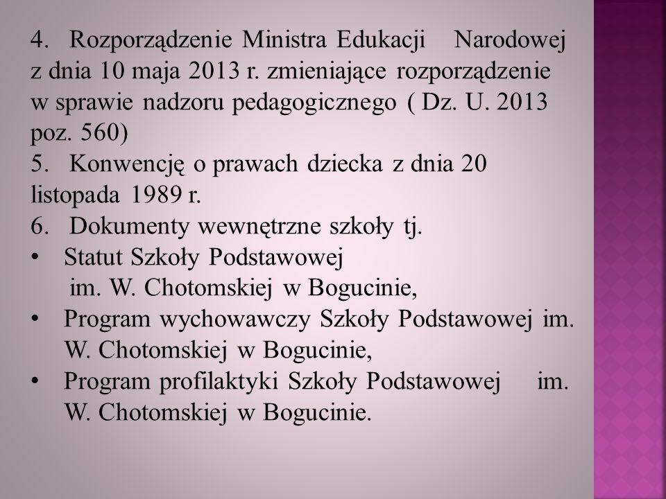 4. Rozporządzenie Ministra Edukacji Narodowej z dnia 10 maja 2013 r. zmieniające rozporządzenie w sprawie nadzoru pedagogicznego ( Dz. U. 2013 poz. 56