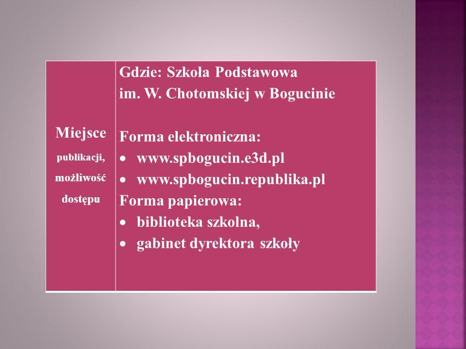 Miejsce publikacji, możliwość dostępu Gdzie: Szkoła Podstawowa im. W. Chotomskiej w Bogucinie Forma elektroniczna:  www.spbogucin.e3d.pl  www.spbogu