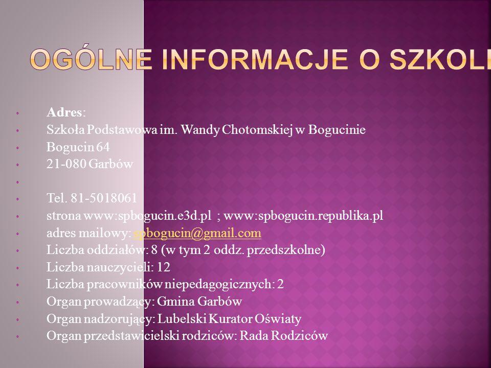 Adres: Szkoła Podstawowa im. Wandy Chotomskiej w Bogucinie Bogucin 64 21-080 Garbów Tel. 81-5018061 strona www:spbogucin.e3d.pl ; www:spbogucin.republ