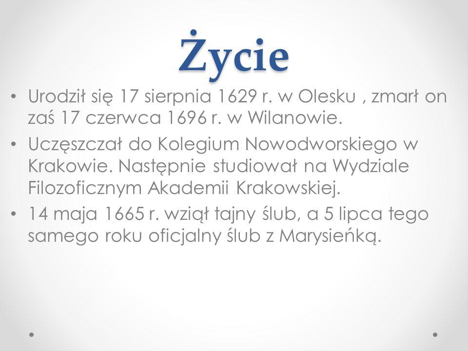 Życie Urodził się 17 sierpnia 1629 r. w Olesku, zmarł on zaś 17 czerwca 1696 r. w Wilanowie. Uczęszczał do Kolegium Nowodworskiego w Krakowie. Następn
