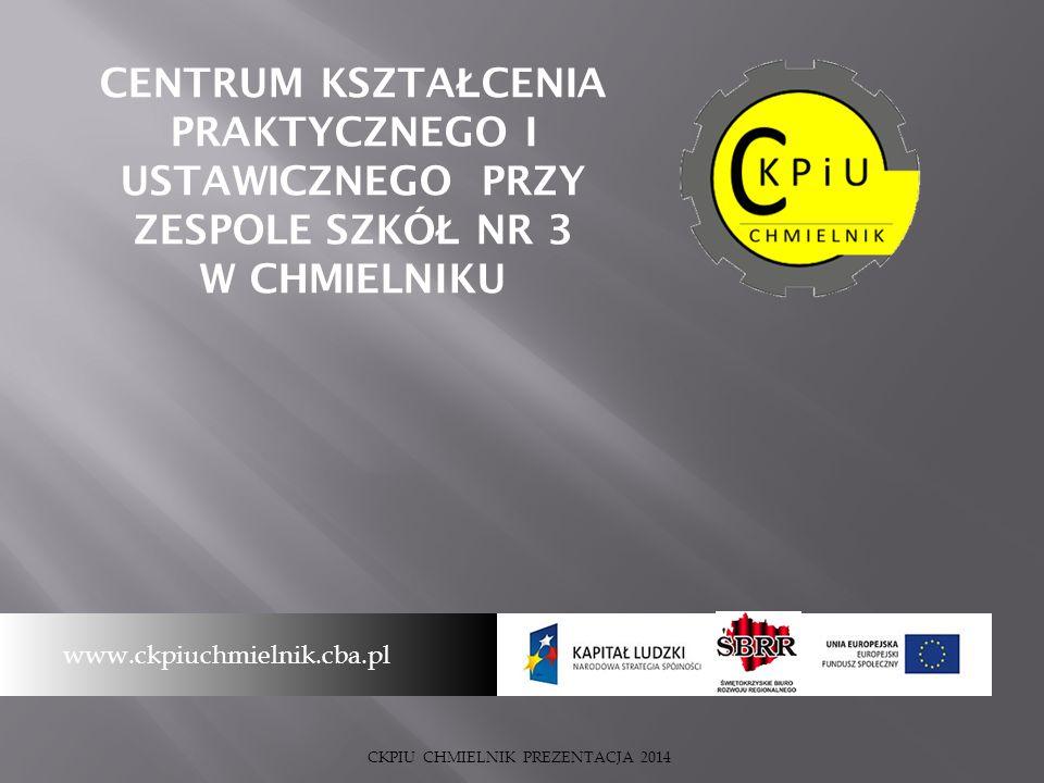 CENTRUM KSZTA Ł CENIA PRAKTYCZNEGO I USTAWICZNEGO PRZY ZESPOLE SZKÓ Ł NR 3 W CHMIELNIKU www.ckpiuchmielnik.cba.pl CKPIU CHMIELNIK PREZENTACJA 2014