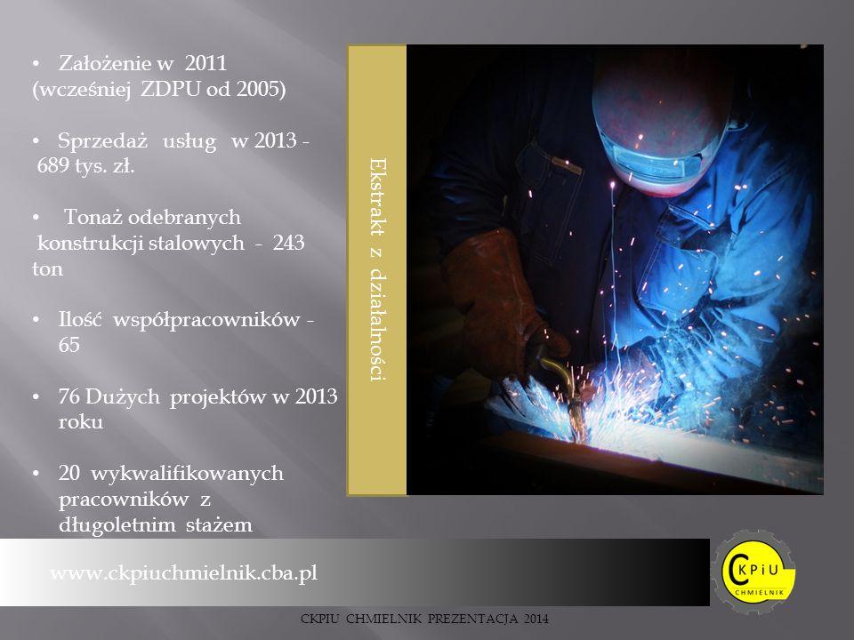 Ekstrakt z działalności Założenie w 2011 (wcześniej ZDPU od 2005) Sprzedaż usług w 2013 - 689 tys.