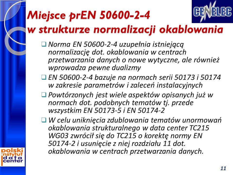 Miejsce prEN 50600-2-4 w strukturze normalizacji okablowania 11  Norma EN 50600-2-4 uzupełnia istniejącą normalizację dot. okablowania w centrach prz