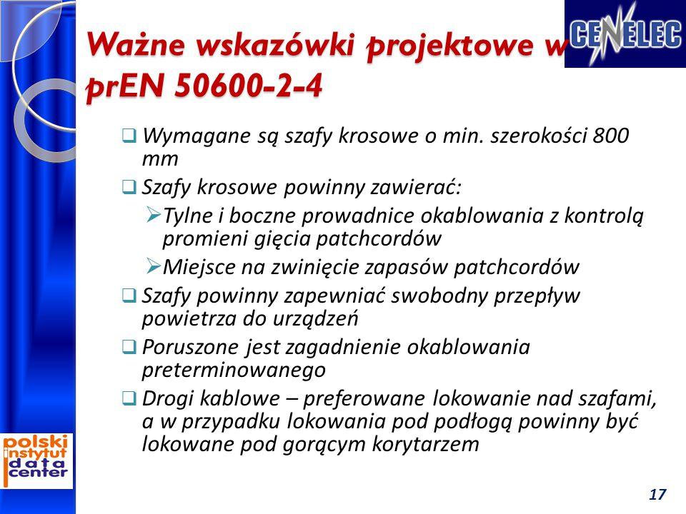 Ważne wskazówki projektowe w prEN 50600-2-4  Wymagane są szafy krosowe o min.