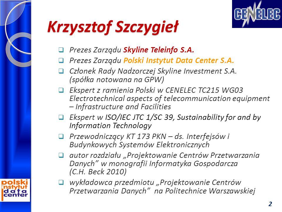 Krzysztof Szczygieł  Prezes Zarządu Skyline Teleinfo S.A.  Prezes Zarządu Polski Instytut Data Center S.A.  Członek Rady Nadzorczej Skyline Investm