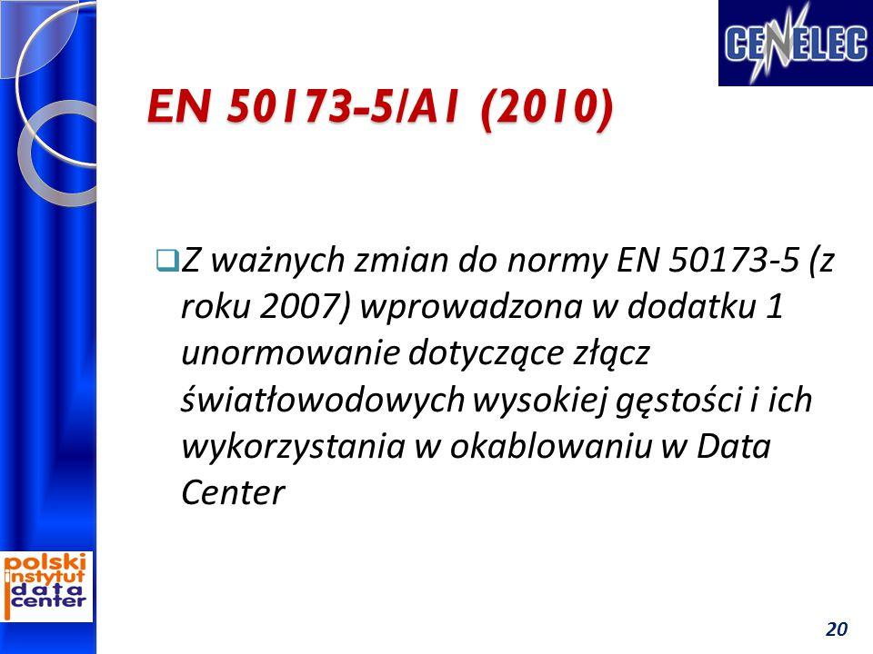 EN 50173-5/A1 (2010)  Z ważnych zmian do normy EN 50173-5 (z roku 2007) wprowadzona w dodatku 1 unormowanie dotyczące złącz światłowodowych wysokiej gęstości i ich wykorzystania w okablowaniu w Data Center 20