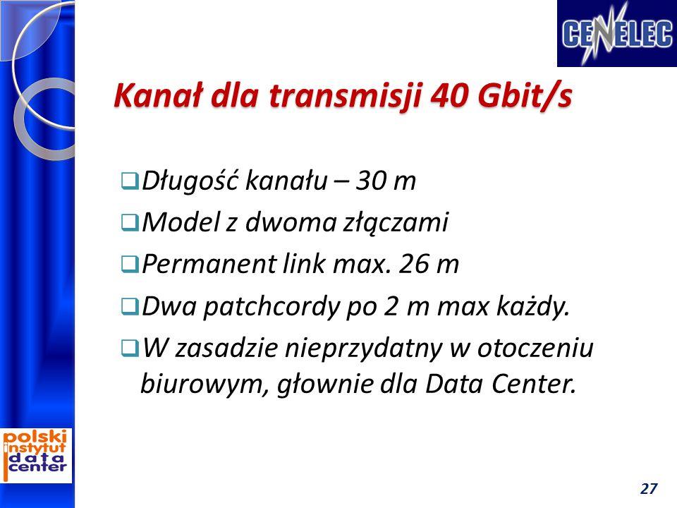 Kanał dla transmisji 40 Gbit/s  Długość kanału – 30 m  Model z dwoma złączami  Permanent link max. 26 m  Dwa patchcordy po 2 m max każdy.  W zasa