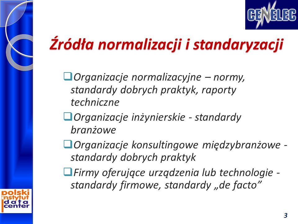 """Źródła normalizacji i standaryzacji  Organizacje normalizacyjne – normy, standardy dobrych praktyk, raporty techniczne  Organizacje inżynierskie - standardy branżowe  Organizacje konsultingowe międzybranżowe - standardy dobrych praktyk  Firmy oferujące urządzenia lub technologie - standardy firmowe, standardy """"de facto 3"""