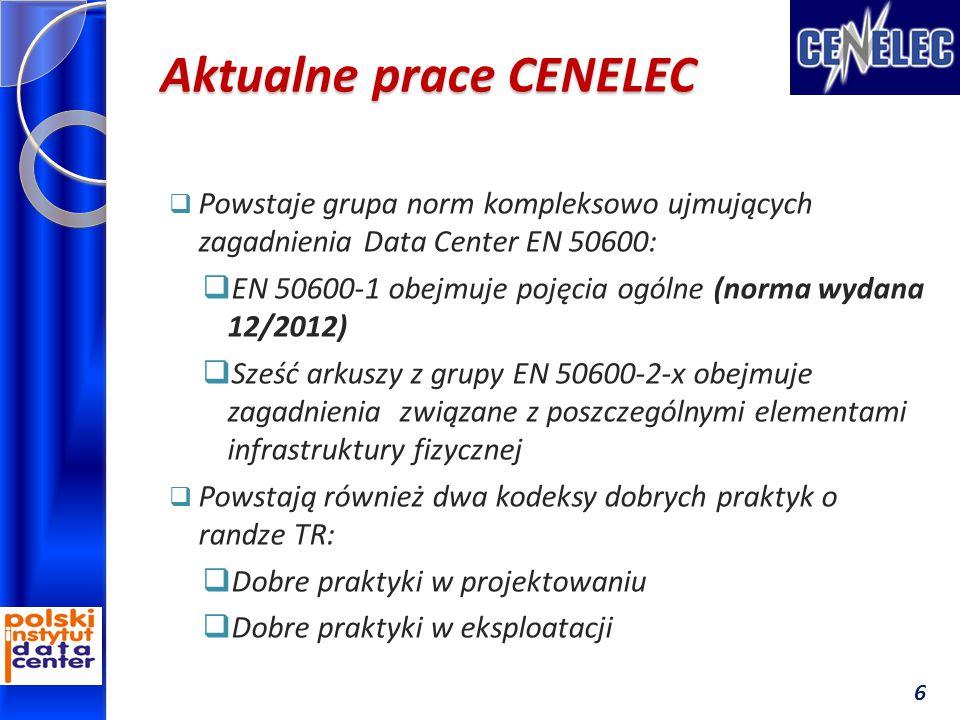 Aktualne prace CENELEC  Powstaje grupa norm kompleksowo ujmujących zagadnienia Data Center EN 50600:  EN 50600-1 obejmuje pojęcia ogólne (norma wydana 12/2012)  Sześć arkuszy z grupy EN 50600-2-x obejmuje zagadnienia związane z poszczególnymi elementami infrastruktury fizycznej  Powstają również dwa kodeksy dobrych praktyk o randze TR:  Dobre praktyki w projektowaniu  Dobre praktyki w eksploatacji 6