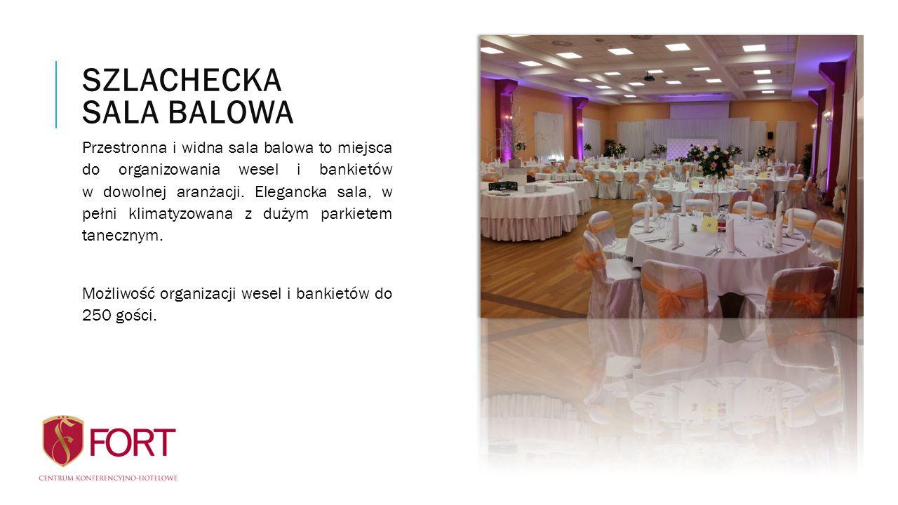 Przestronna i widna sala balowa to miejsca do organizowania wesel i bankietów w dowolnej aranżacji. Elegancka sala, w pełni klimatyzowana z dużym park
