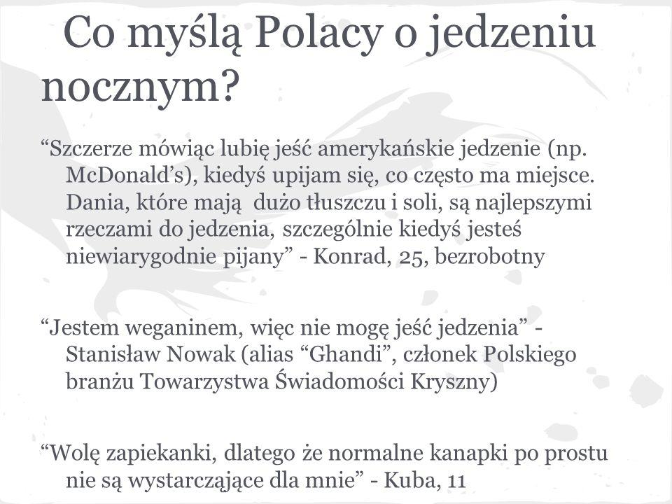 """Co myślą Polacy o jedzeniu nocznym? """"Szczerze mówiąc lubię jeść amerykańskie jedzenie (np. McDonald's), kiedyś upijam się, co często ma miejsce. Dania"""