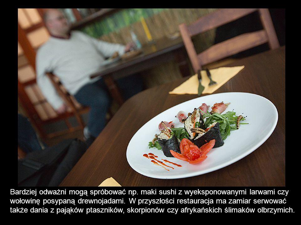 Bardziej odważni mogą spróbować np. maki sushi z wyeksponowanymi larwami czy wołowinę posypaną drewnojadami. W przyszłości restauracja ma zamiar serwo