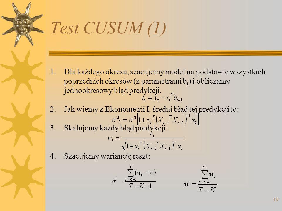19 1.Dla każdego okresu, szacujemy model na podstawie wszystkich poprzednich okresów (z parametrami b t ) i obliczamy jednookresowy błąd predykcji. 2.