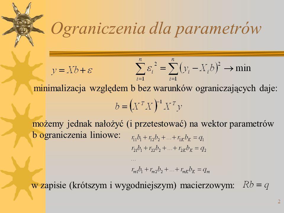 2 Ograniczenia dla parametrów minimalizacja względem b bez warunków ograniczających daje: możemy jednak nałożyć (i przetestować) na wektor parametrów
