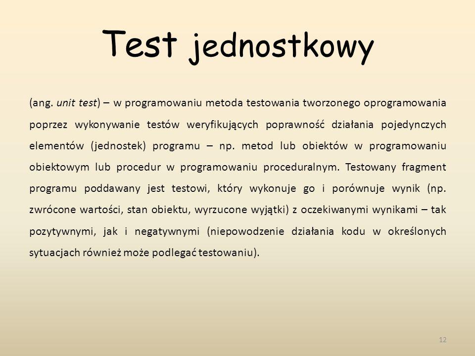 Test jednostkowy 12 (ang. unit test) – w programowaniu metoda testowania tworzonego oprogramowania poprzez wykonywanie testów weryfikujących poprawnoś