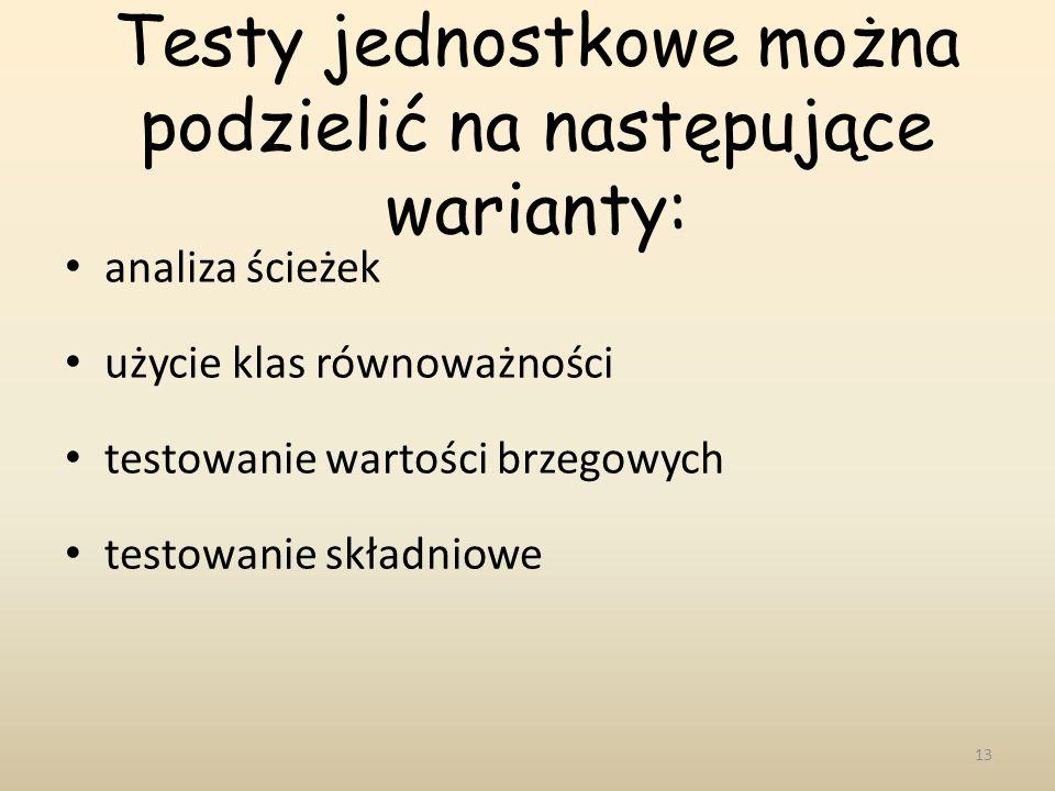 Testy jednostkowe można podzielić na następujące warianty: analiza ścieżek użycie klas równoważności testowanie wartości brzegowych testowanie składni