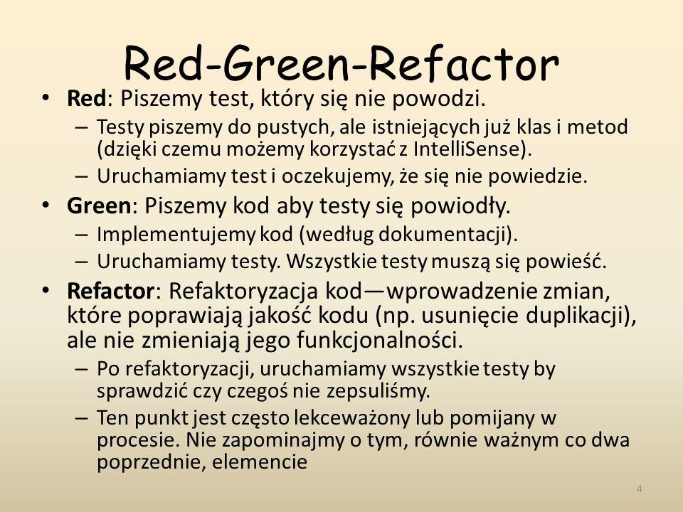 Red-Green-Refactor Red: Piszemy test, który się nie powodzi. – Testy piszemy do pustych, ale istniejących już klas i metod (dzięki czemu możemy korzys