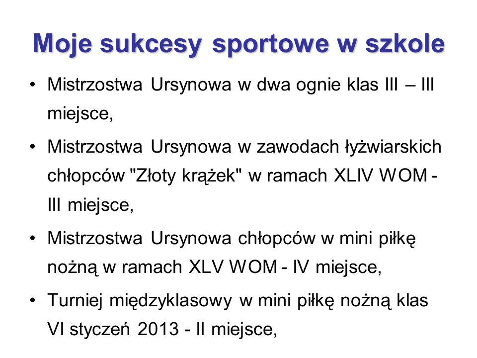Moje sukcesy sportowe w szkole Mistrzostwa Ursynowa w dwa ognie klas III – III miejsce, Mistrzostwa Ursynowa w zawodach łyżwiarskich chłopców