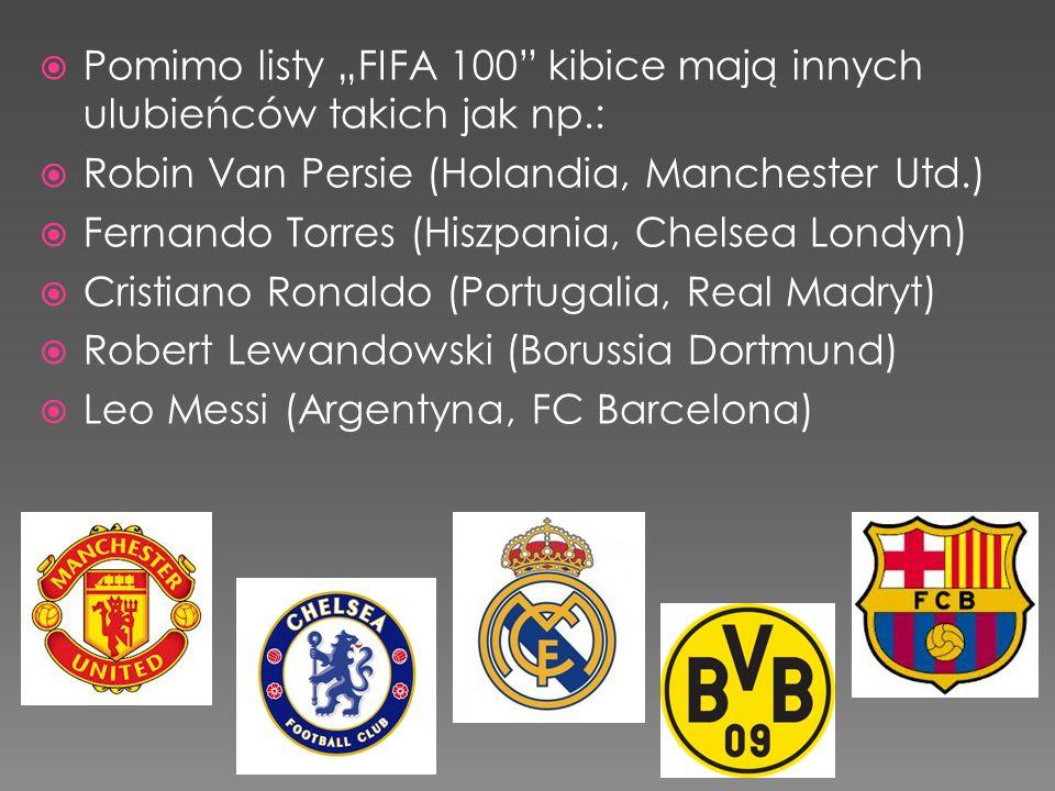 """ Pomimo listy """"FIFA 100"""" kibice mają innych ulubieńców takich jak np.:  Robin Van Persie (Holandia, Manchester Utd.)  Fernando Torres (Hiszpania, C"""