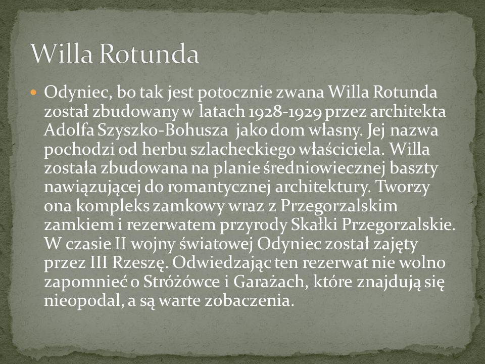 Odyniec, bo tak jest potocznie zwana Willa Rotunda został zbudowany w latach 1928-1929 przez architekta Adolfa Szyszko-Bohusza jako dom własny. Jej na