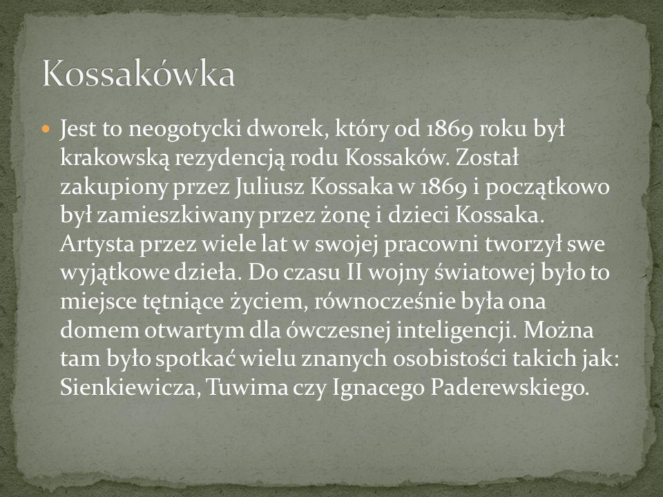 Jest to neogotycki dworek, który od 1869 roku był krakowską rezydencją rodu Kossaków. Został zakupiony przez Juliusz Kossaka w 1869 i początkowo był z