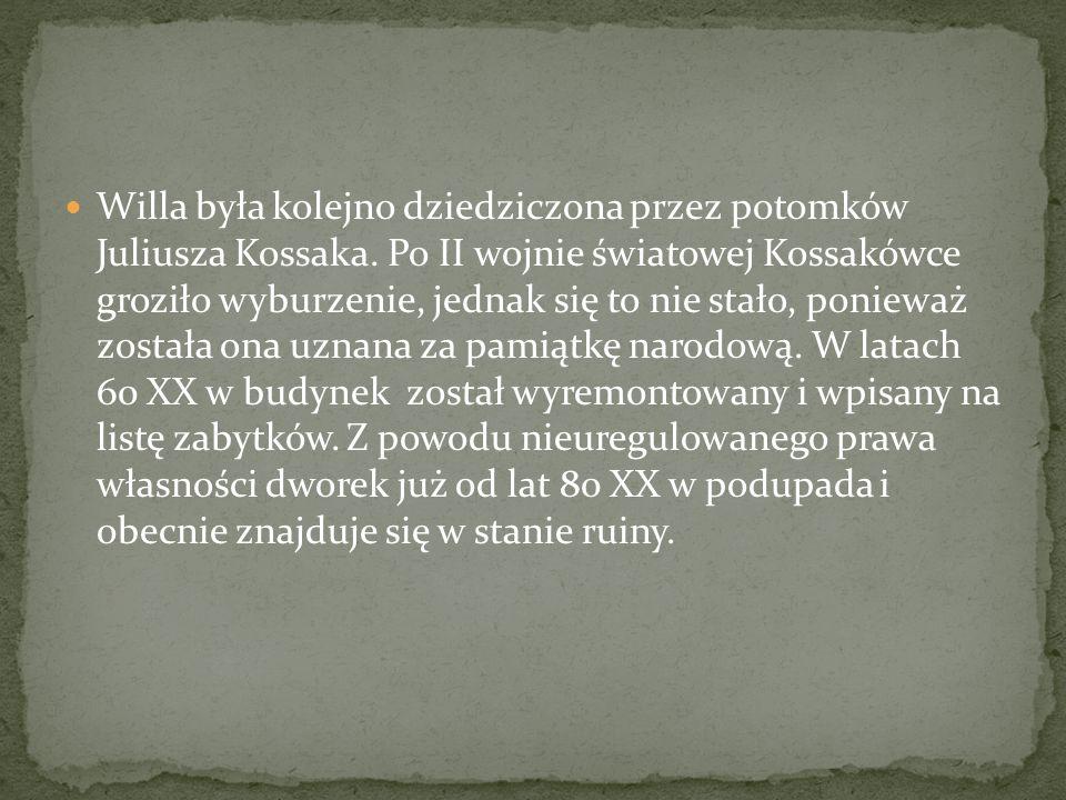 Willa była kolejno dziedziczona przez potomków Juliusza Kossaka. Po II wojnie światowej Kossakówce groziło wyburzenie, jednak się to nie stało, poniew