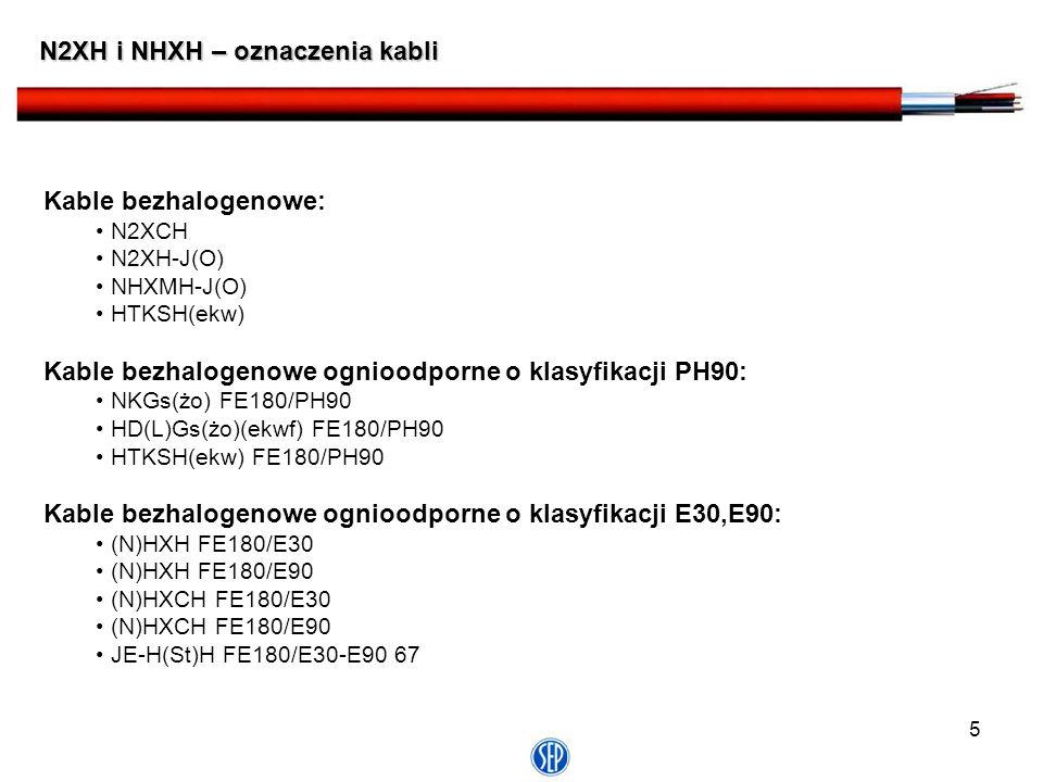 5 N2XH i NHXH – oznaczenia kabli Kable bezhalogenowe: N2XCH N2XH-J(O) NHXMH-J(O) HTKSH(ekw) Kable bezhalogenowe ognioodporne o klasyfikacji PH90: NKGs
