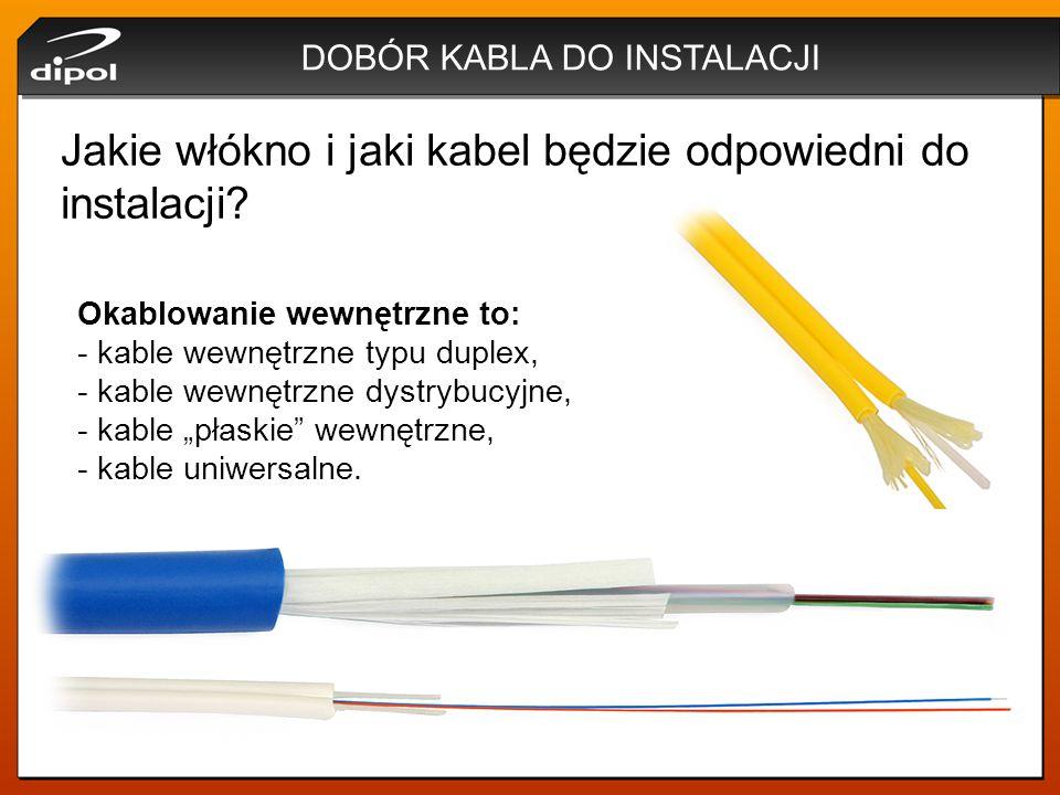 """DOBÓR KABLA DO INSTALACJI Okablowanie wewnętrzne to: - kable wewnętrzne typu duplex, - kable wewnętrzne dystrybucyjne, - kable """"płaskie"""" wewnętrzne, -"""
