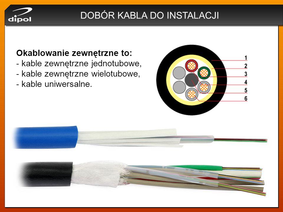 DOBÓR KABLA DO INSTALACJI Okablowanie zewnętrzne to: - kable zewnętrzne jednotubowe, - kable zewnętrzne wielotubowe, - kable uniwersalne.