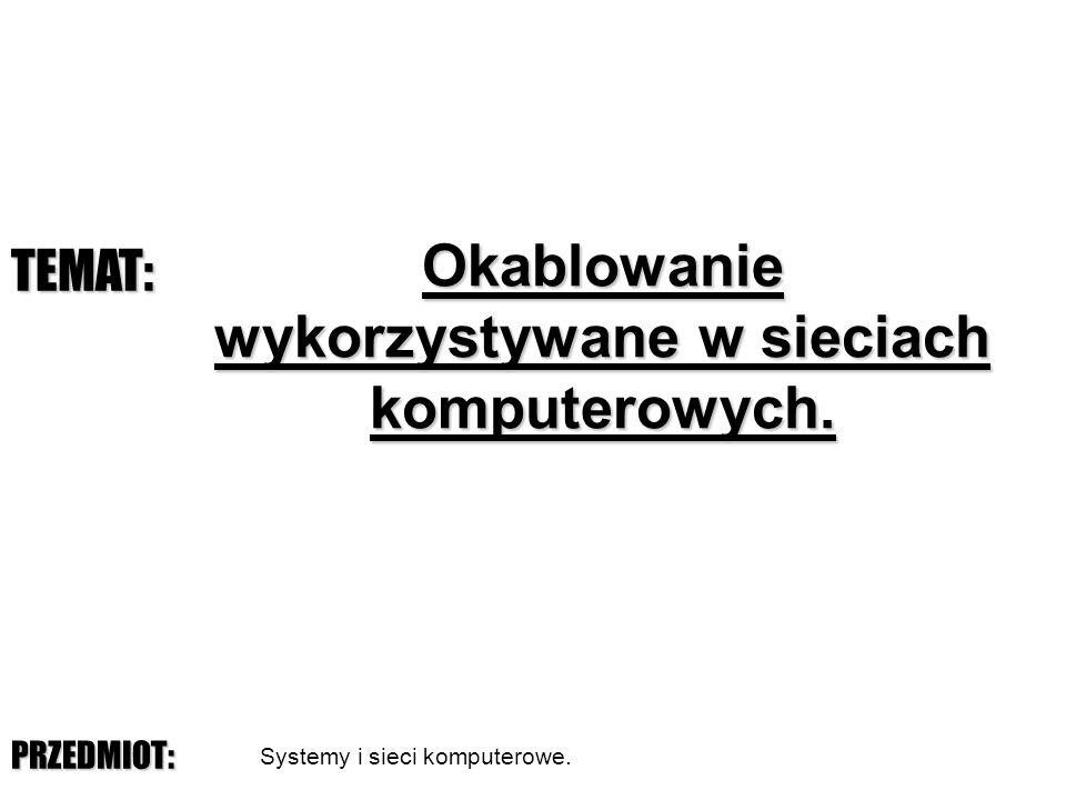 © Marcin Żmuda, CKU Legnica Okablowanie wykorzystywane w sieciach komputerowych.