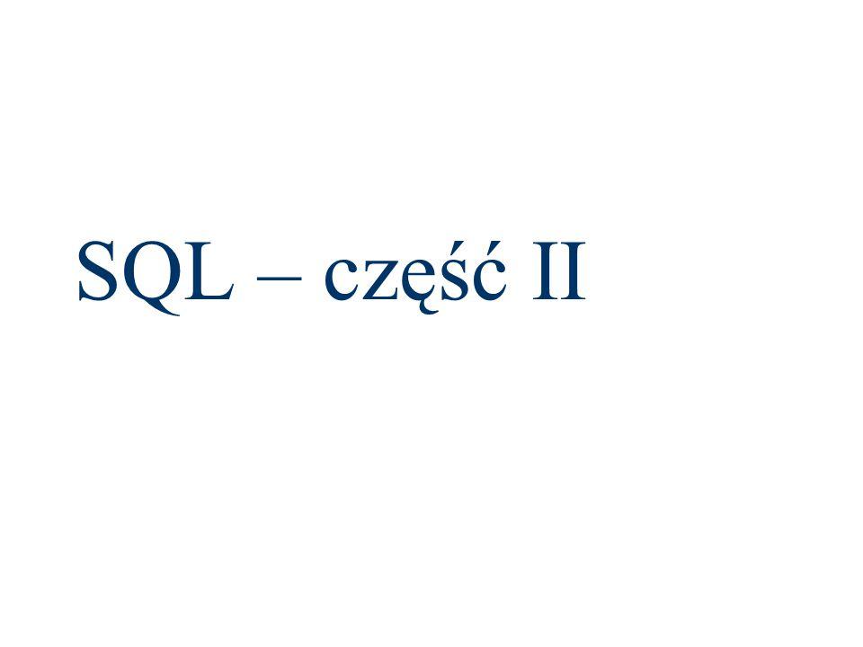 Wprowadzanie danych insert into Cennik DataOd, DataDo, IdTowaru, Cena values 2009-01-01 , 2009-03-01 ,1,2 insert into Cennik DataOd, DataDo, IdTowaru, Cena values 2009-01-01 , ,2,3 insert into Cennik DataOd, DataDo, IdTowaru, Cena values 2009-03-02 , 2009-01-01 ,1,2.2