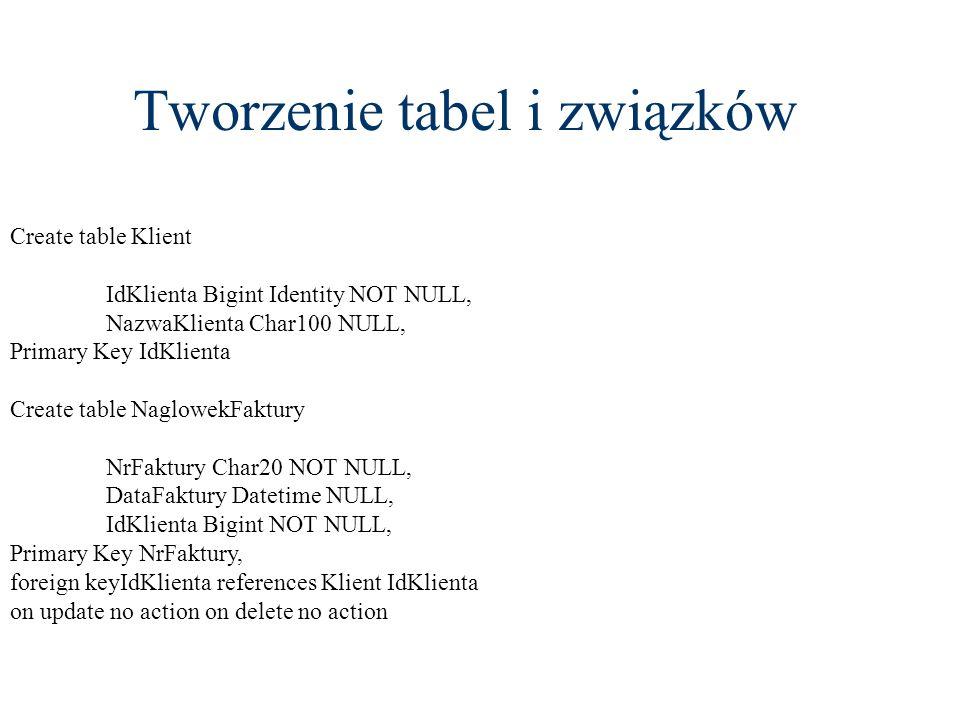 Tworzenie tabel i związków Create table Klient IdKlienta Bigint Identity NOT NULL, NazwaKlienta Char100 NULL, Primary Key IdKlienta Create table Naglo