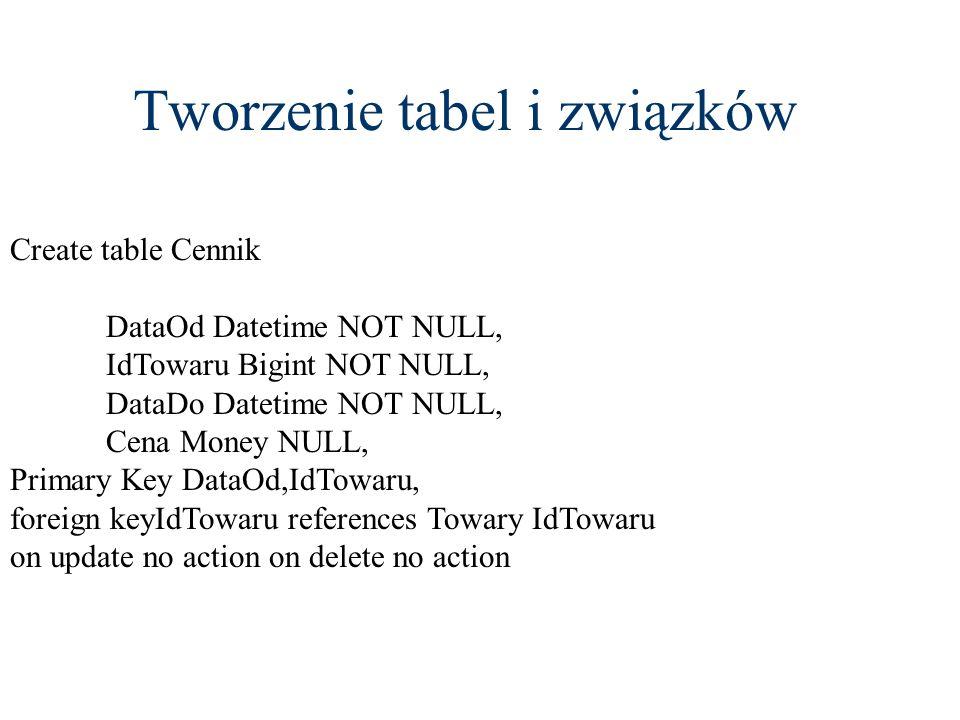 Tworzenie tabel i związków Create table Cennik DataOd Datetime NOT NULL, IdTowaru Bigint NOT NULL, DataDo Datetime NOT NULL, Cena Money NULL, Primary