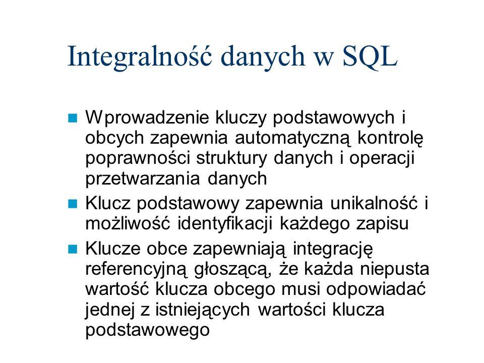 Integralność danych w SQL Wprowadzenie kluczy podstawowych i obcych zapewnia automatyczną kontrolę poprawności struktury danych i operacji przetwarzan