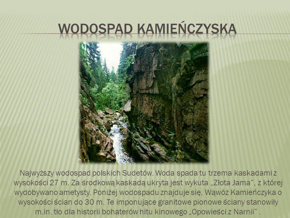 """Najwyższy wodospad polskich Sudetów. Woda spada tu trzema kaskadami z wysokości 27 m. Za środkową kaskadą ukryta jest wykuta """"Złota Jama"""", z której wy"""