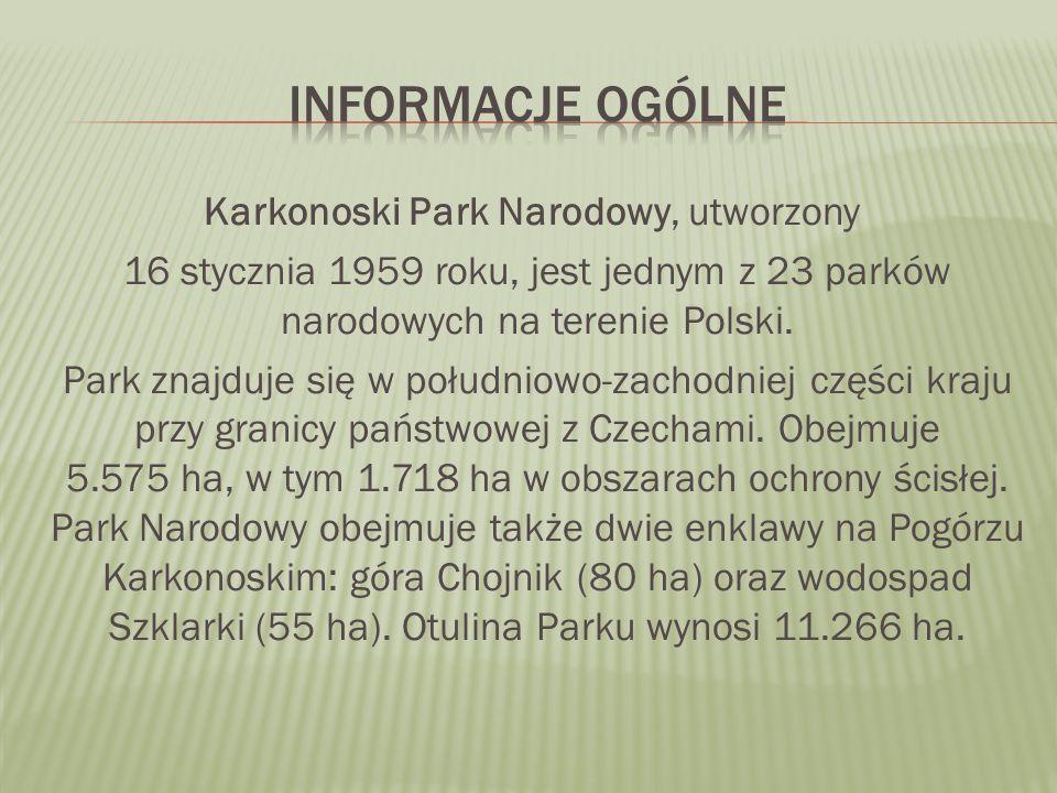 Karkonoski Park Narodowy, utworzony 16 stycznia 1959 roku, jest jednym z 23 parków narodowych na terenie Polski.