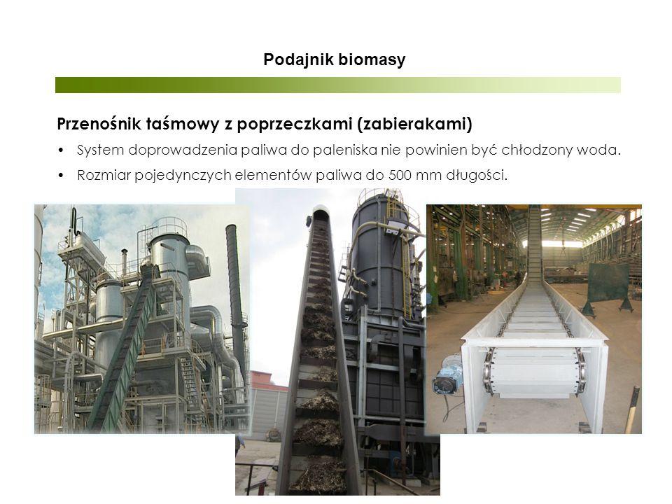 Podajnik biomasy Przenośnik taśmowy z poprzeczkami (zabierakami) System doprowadzenia paliwa do paleniska nie powinien być chłodzony woda.