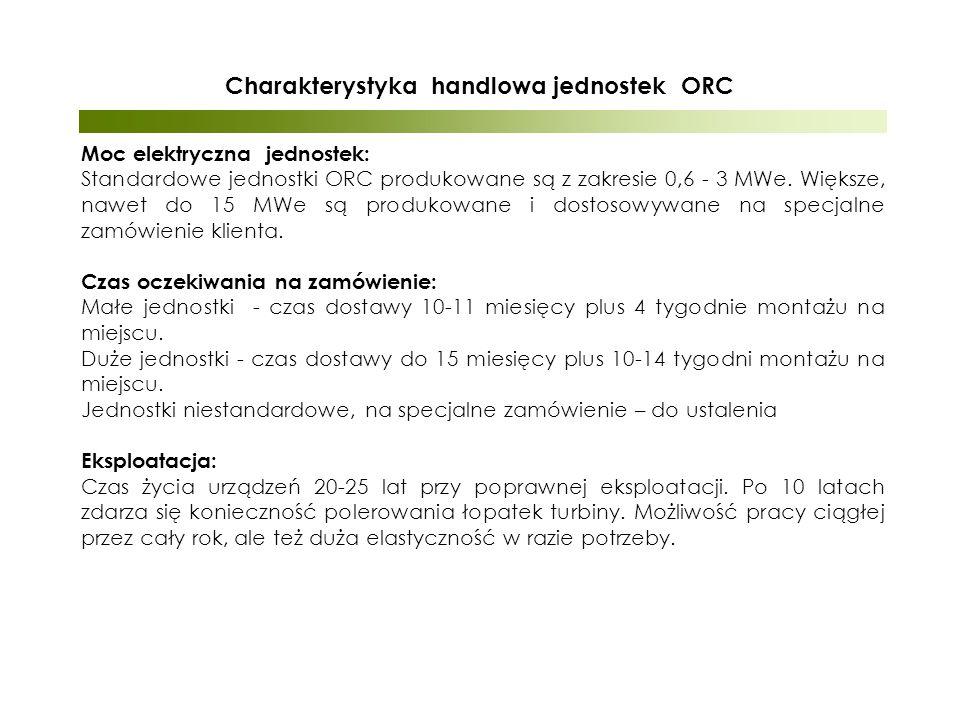Charakterystyka handlowa jednostek ORC Moc elektryczna jednostek: Standardowe jednostki ORC produkowane są z zakresie 0,6 - 3 MWe.