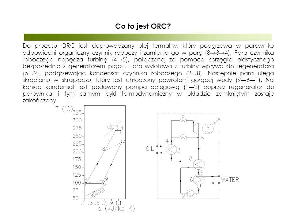 Do procesu ORC jest doprowadzany olej termalny, który podgrzewa w parowniku odpowiedni organiczny czynnik roboczy i zamienia go w parę (8→3→4).