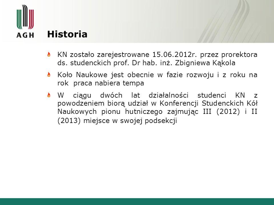 Historia KN zostało zarejestrowane 15.06.2012r. przez prorektora ds. studenckich prof. Dr hab. inż. Zbigniewa Kąkola Koło Naukowe jest obecnie w fazie