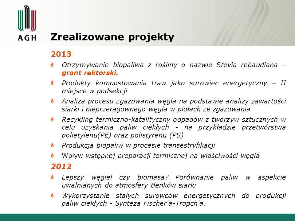 Zrealizowane projekty 2013 Otrzymywanie biopaliwa z rośliny o nazwie Stevia rebaudiana – grant rektorski. Produkty kompostowania traw jako surowiec en